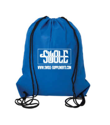 SWOLE SUPPLEMENTS - LARGE DRAWSTRING BAG (BLUE & WHITE)