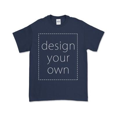 客製 局部 印花 藏青 純棉 中性 T恤 Navy Cotton T-shirt