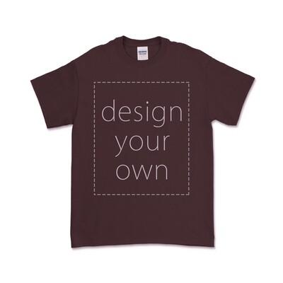 客製 局部 印花 棗紅 純棉 中性 T恤 Maroon Cotton T-shirt