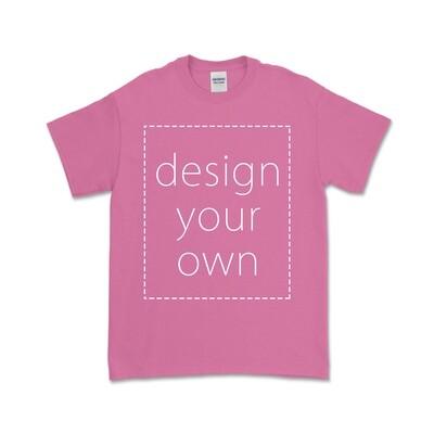 客製 局部 印花 蜜桃紅 純棉 中性 T恤 Azalea Cotton T-shirt