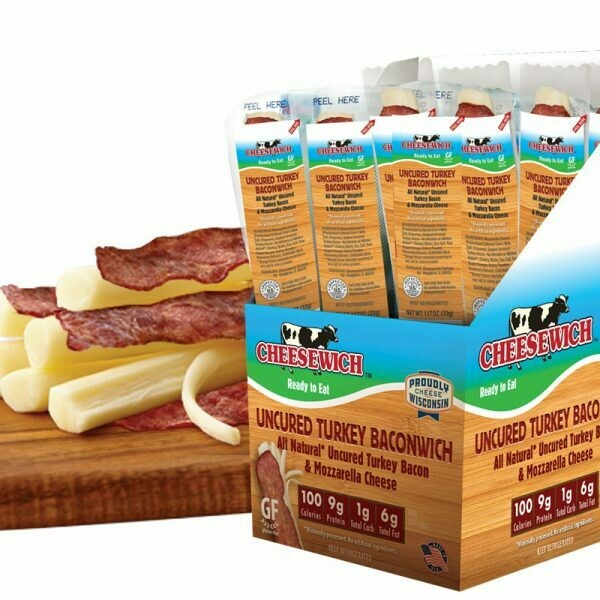 Baconwich - Mozzarella String Cheese & 1 Slice Uncured All-Natural Turkey Bacon (24pk)