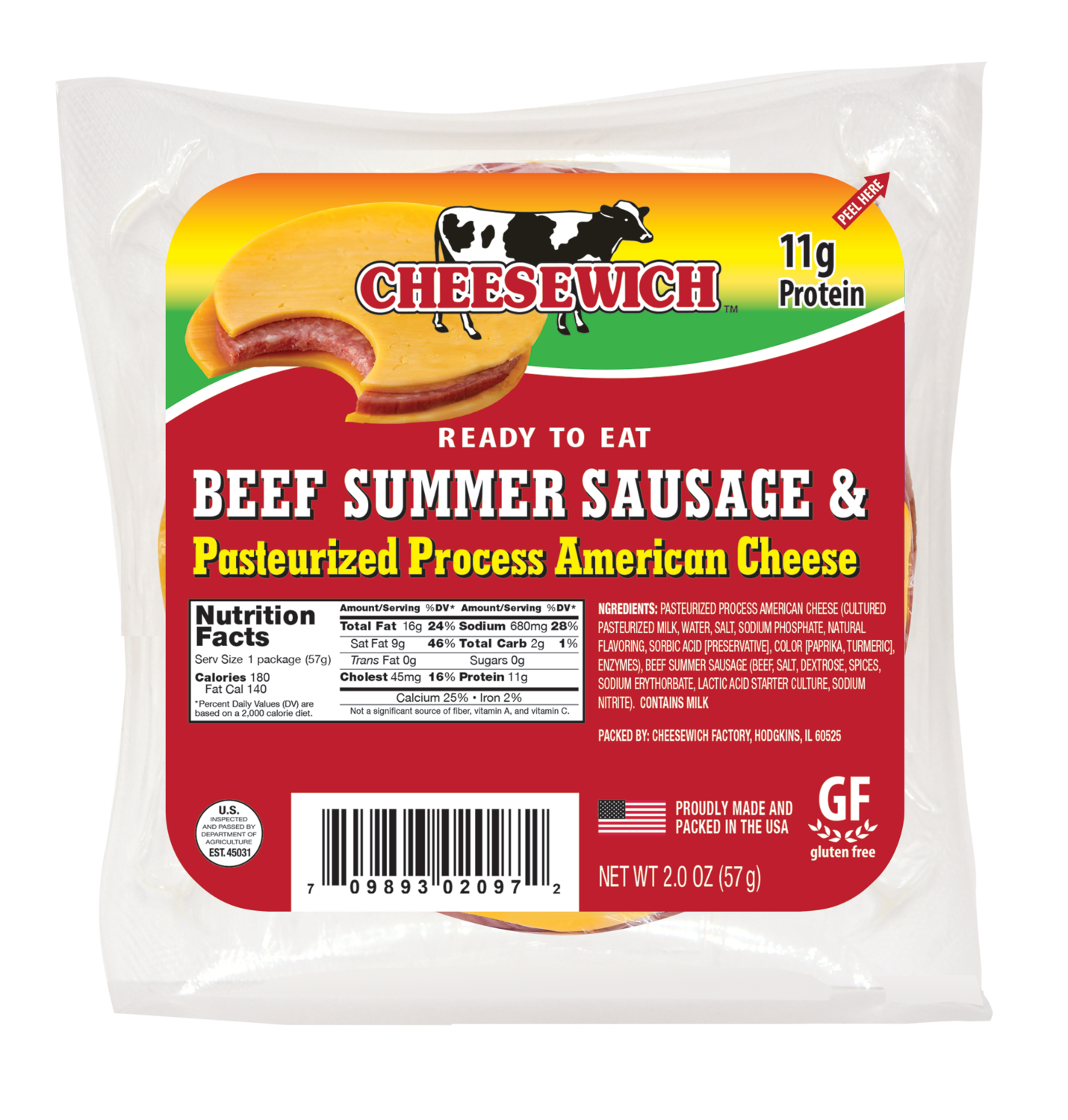 Beef Summer Sausage and American Cheese (16pk) Non Refrigerated