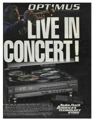 Optimus / Live In Concert! | Magazine Ad | March 1992