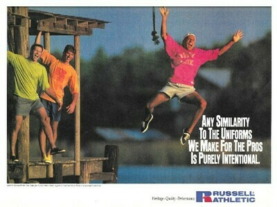 Russell Athletic / Man Jumping Off Dock | Magazine Ad | March 1992