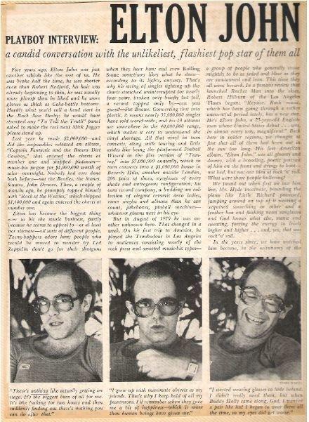John, Elton / Playboy Interview | Magazine Article with 3 Photos (1976)