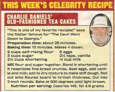 Daniels, Charlie / Charlie Daniels' Old-Fashioned Tea Cakes | Celebrity Recipe | 2002