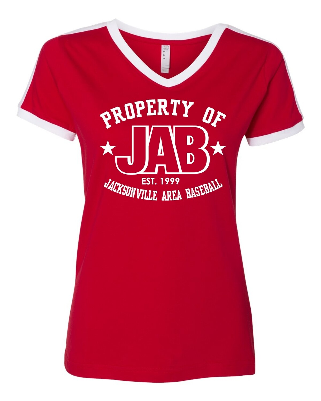 JAB-3532 LAT - Women's Retro Ringer Fine Jersey V-Neck Tee