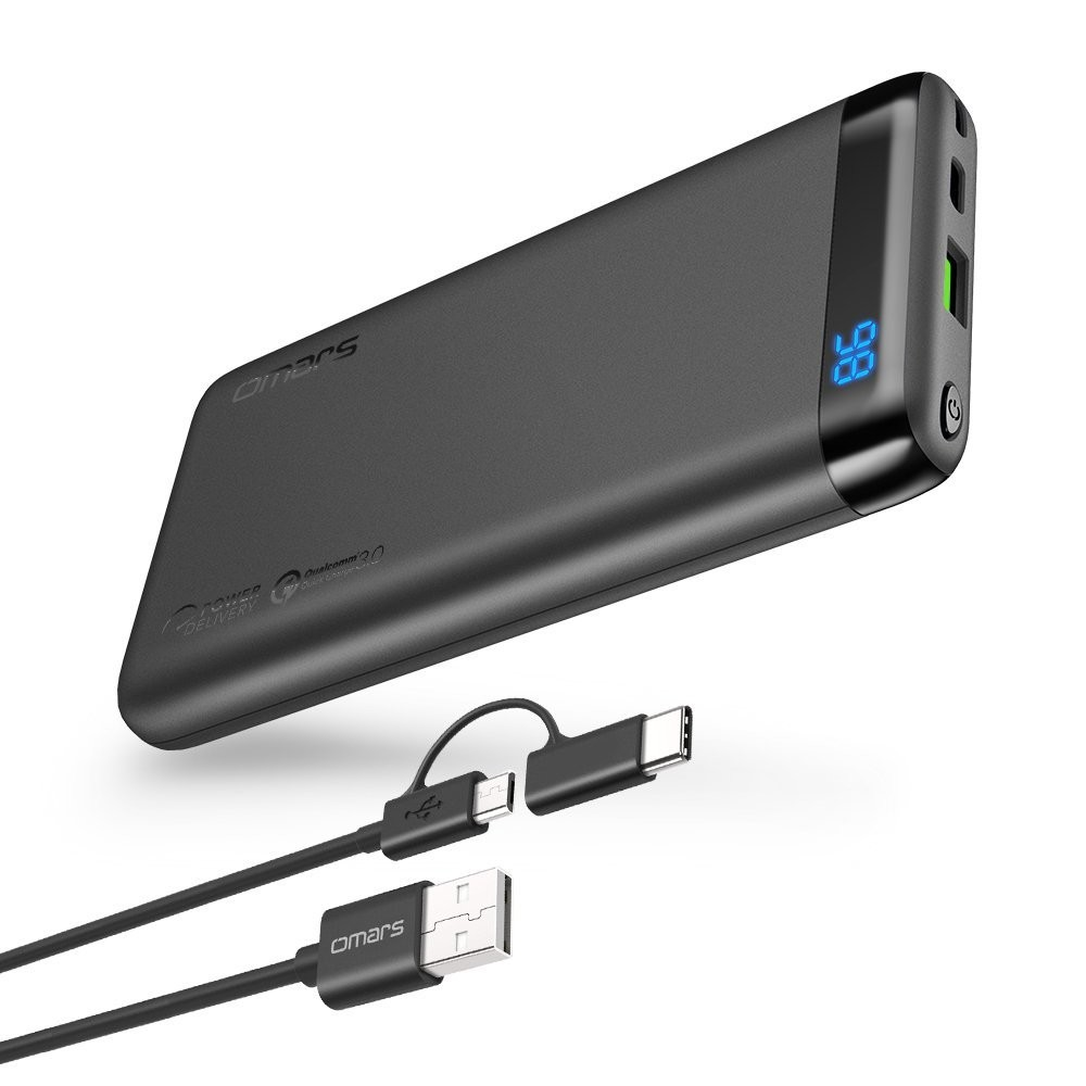 OMARS Power Bank, Portable Charger 10000mAh USB C PD Quick Charge 3.0 USB Type-C 18W Output Compatible iPhone Xs/XR/XS Max/X / 8/8 Plus, iPad, Galaxy S9 / Note 9 - EN STOCK LE 4 MAI 2019