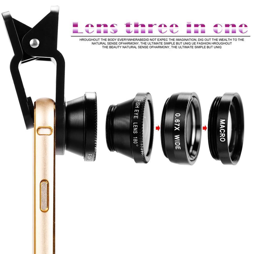 3 in 1 Universal Clip Fish Eye Wide Angle Macro Phone Fisheye Lens For iPhone 6s 7 samsung s7 s8 huawei