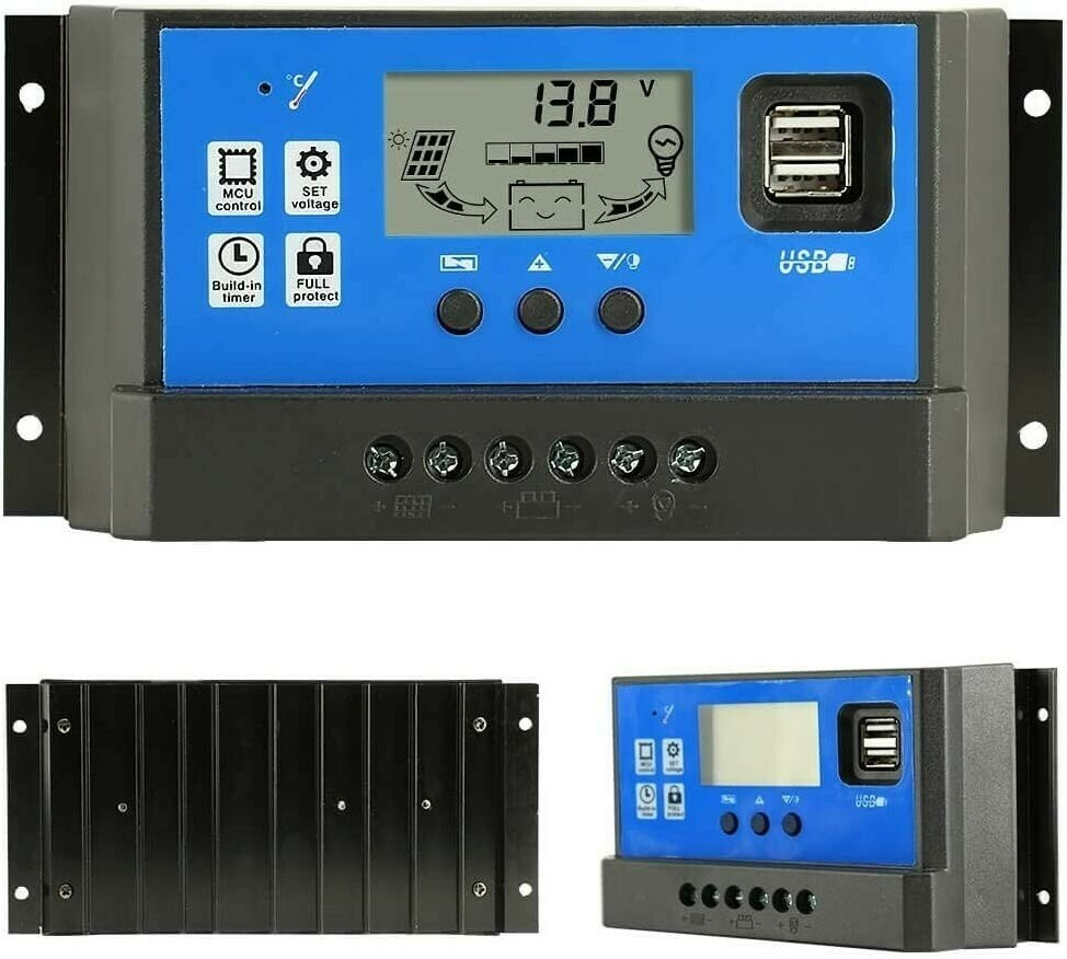 60 Amps Regulateur Panneau Solaire Dual USB PWM Solar Charge Controller 60A 12V/24V Auto Adjustable Parameter LCD Display Regulator Load Timer Setting ON/Off Hours EN STOCK LE 17 JUIN 2019