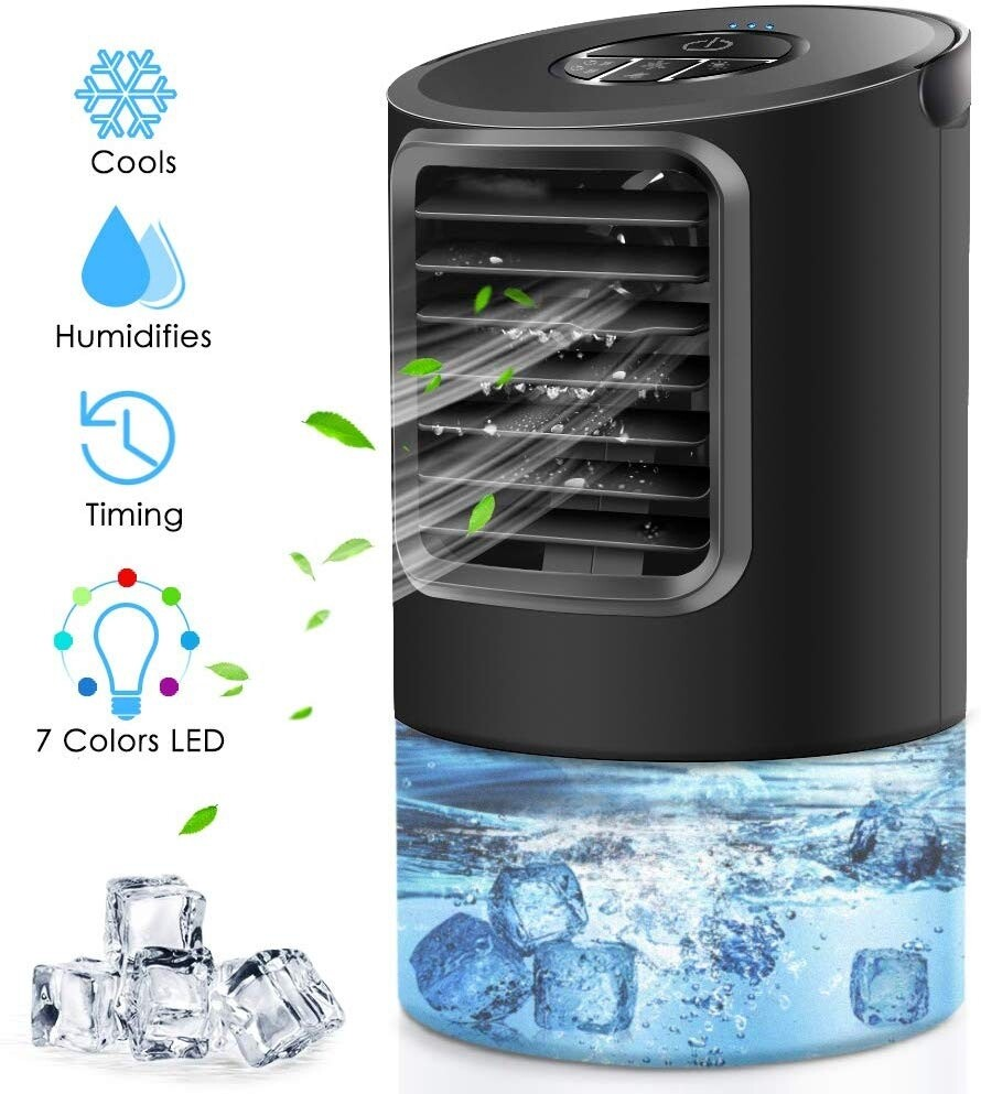 Portable Air Conditioner Fan, Peodelk Mini Evaporative Cooler with 7 Colors Light Changing, 3 Fan Speed, Super Quiet Humidifier Misting Fan for Home Office Bedroom Air Cooler