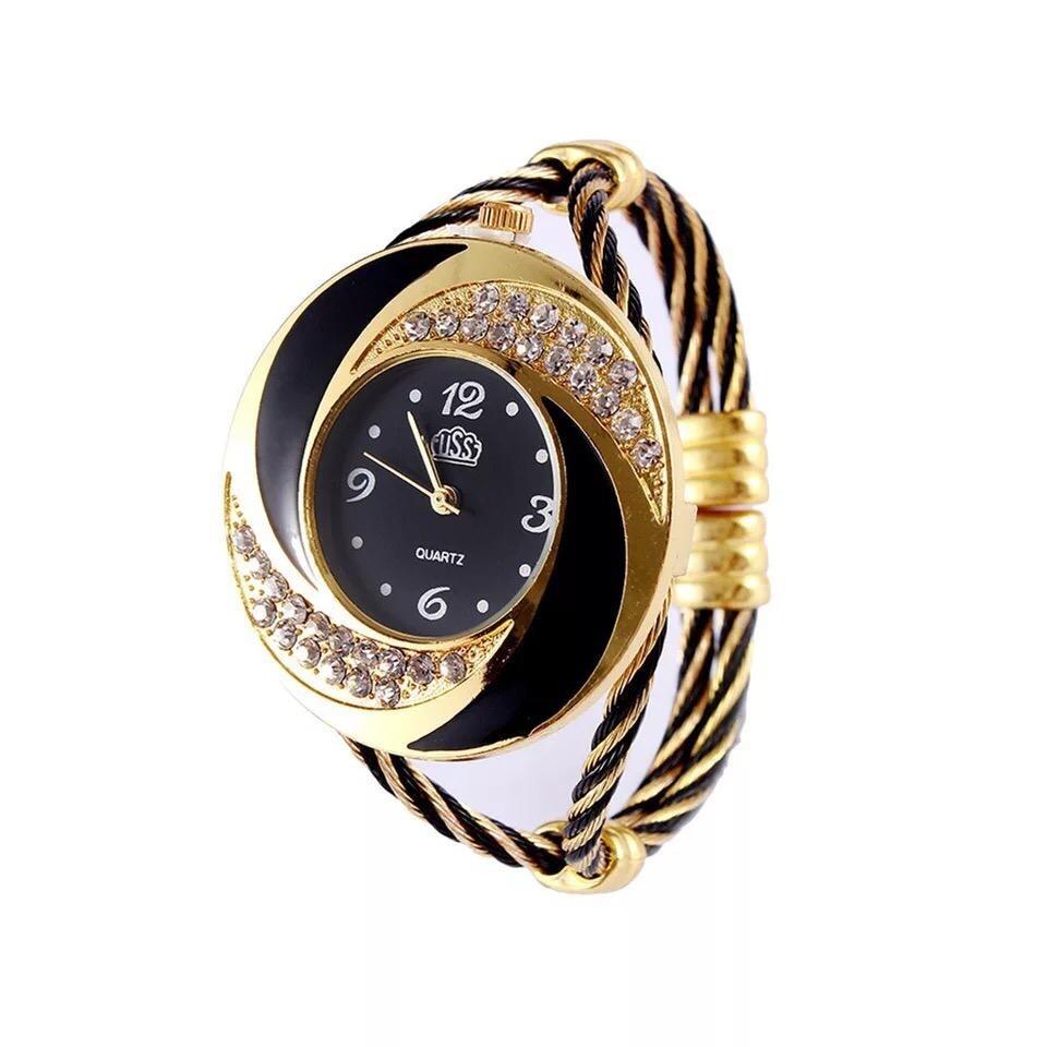 Montre Fashion pour Femme - Couleur Argent-Noir  - Women's Watch Quartz Gold-Black