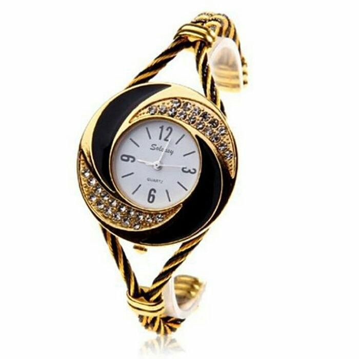Montre Fashion pour Femme - Couleur Or - Women's Watch Quartz Gold-Black WTH0204