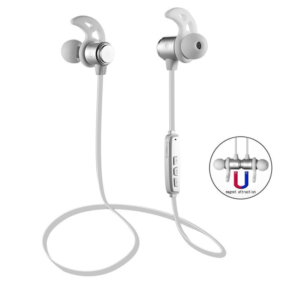 Bluetooth Headphones BLANC Magnetic Wireless avec Micro - Appel Telephonique Android iPhone (Bluetooth 4.1, 6 Heures Autonomie) - LES MODELES PEUVENT VARIER