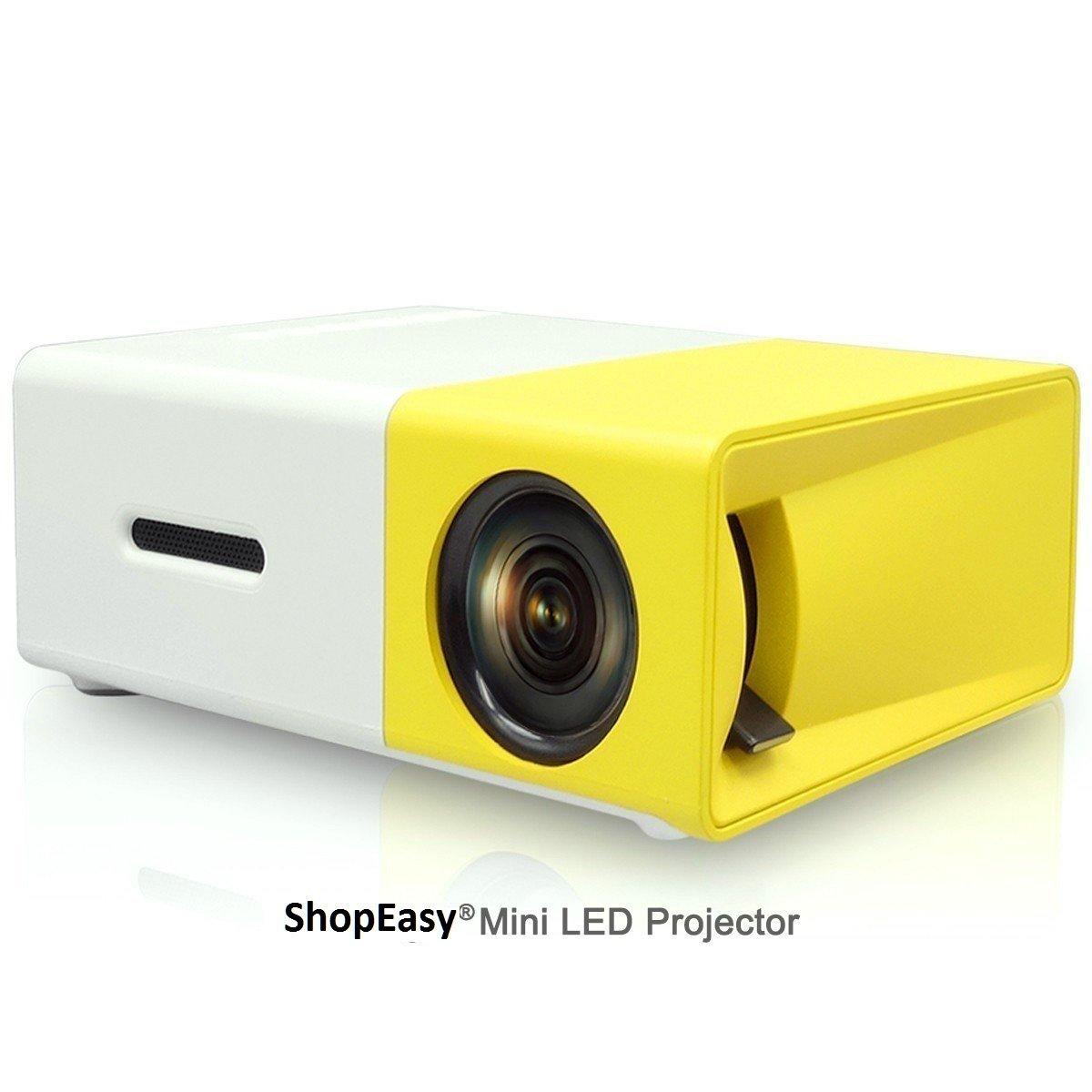 Mini Projecteur AMATEUR 600 Lumen Film Pour la Famille - Version JAUNE - Projecteur Home Cinema Projector pour PC Laptop USB/MiniSD/AV/HDMI - Video - Speaker Integre Headphone