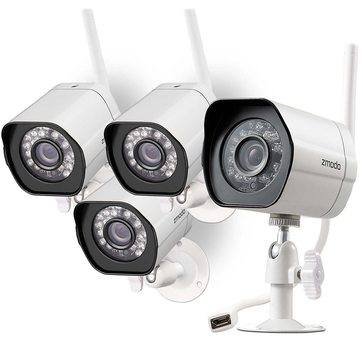 Zmodo Smart Wireless Security Camera System- 4 Unites Pack- HD Indoor/Outdoor WiFi IP Cameras with Night Vision Easy Remote Access