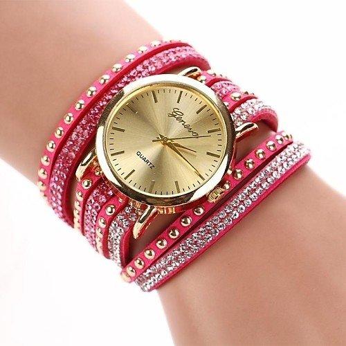 GENEVA RED LACE BUTTON WATCH BRACELET ROUGE Bracelet Watches Faux Leather Band Wrap Bracelet Watch