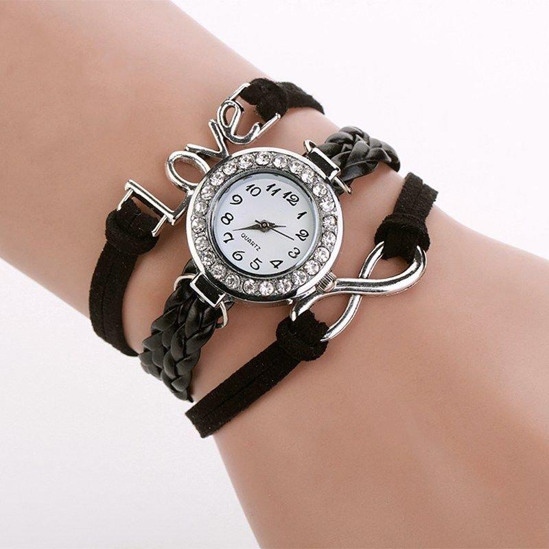 Bracelet Montre Quartz Love - Couleur Noire