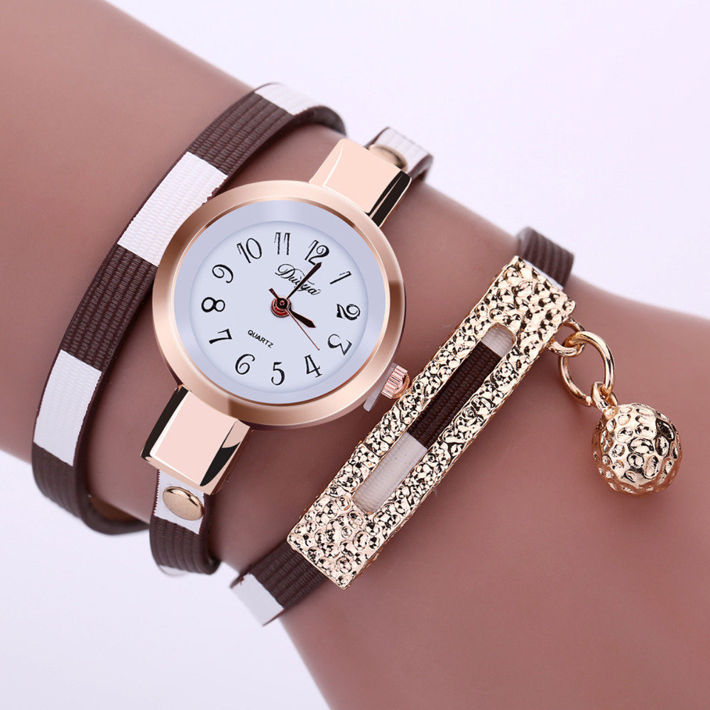Bracelet Montre Watch Red & White (MARRON et BLANC)