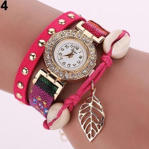 Montre Bracelet Rose Raquette - Women Rivet Leaf Shell Braided Faux Leather Band Quartz Wrist Watch - PROMOTION VALABLE JUSQU'A 10 JANVIER 2020