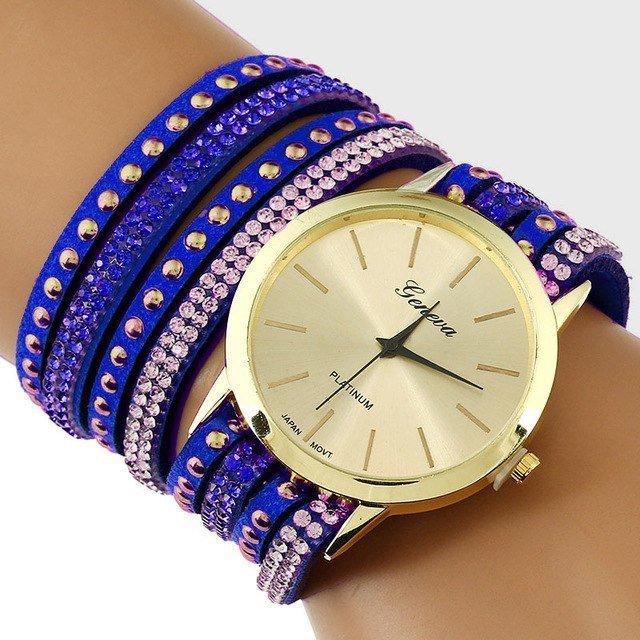 GENEVA BLUE LACE BUTTON WATCH BRACELET BLEU Bracelet Watches Faux Leather Band Wrap Bracelet Watch