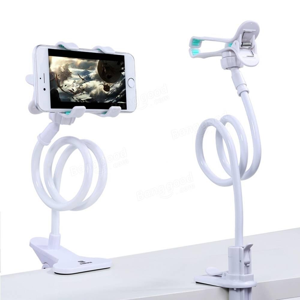 Long Bras Cell Phone Holder BLANC Universal Plastic Cell Phone Clip Holder, Lazy Bracket Flexible Long Arm