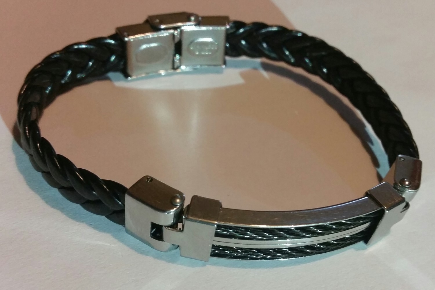 Stainless/ Double Black String Bracelet - Medium 22.5 CM - ShopEasy