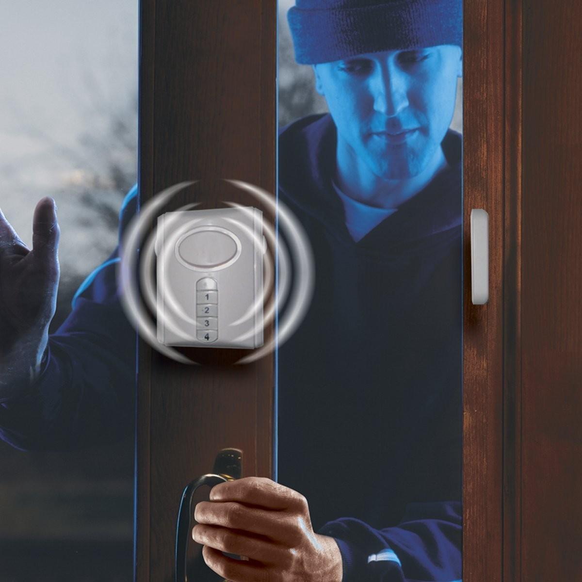Deluxe Wireless Door Alarm General Electric 120 Decibel, Alarm or Entry Chime, Indoor Personal Security, with Keypad Activation, 45117