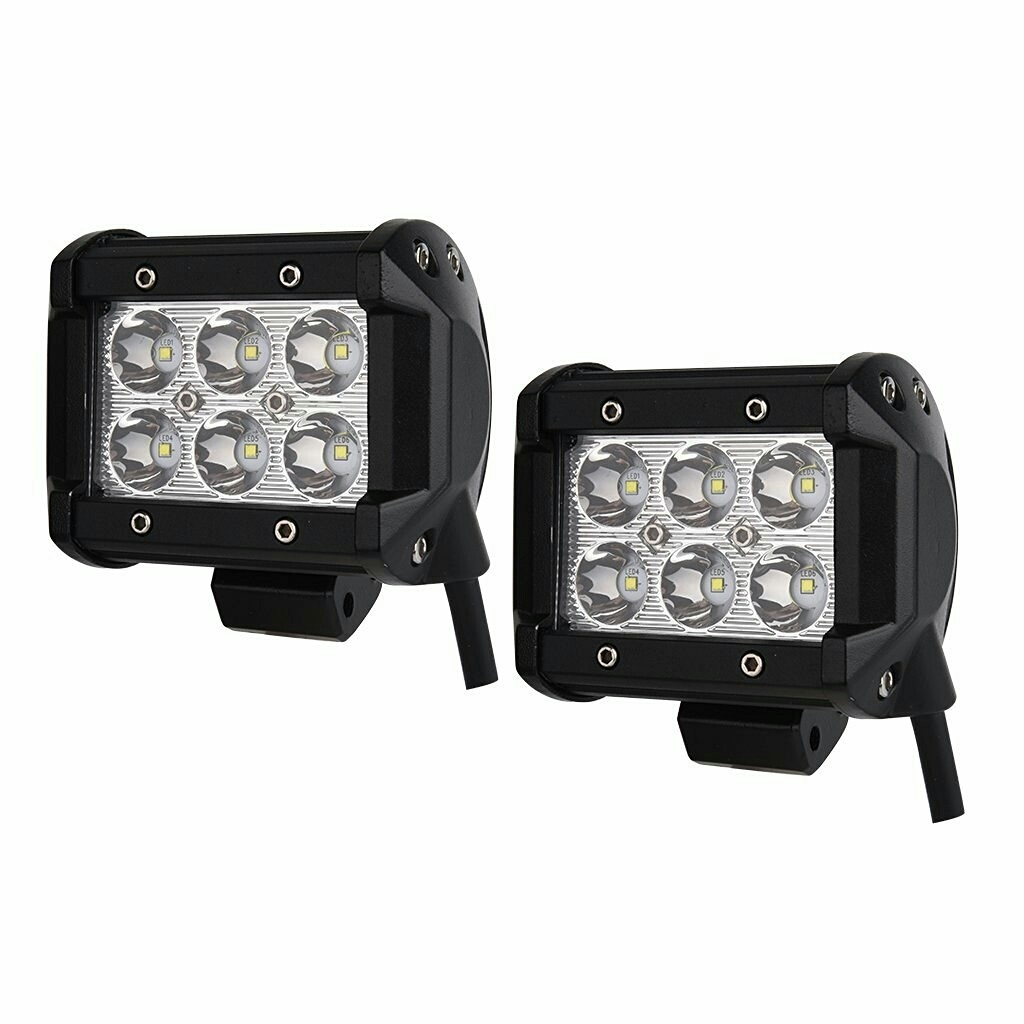 "Spot Light Waterproof Dimension 4"" x 4"" 18W pour Tout Vehicule (PAIRE) Spotlight"