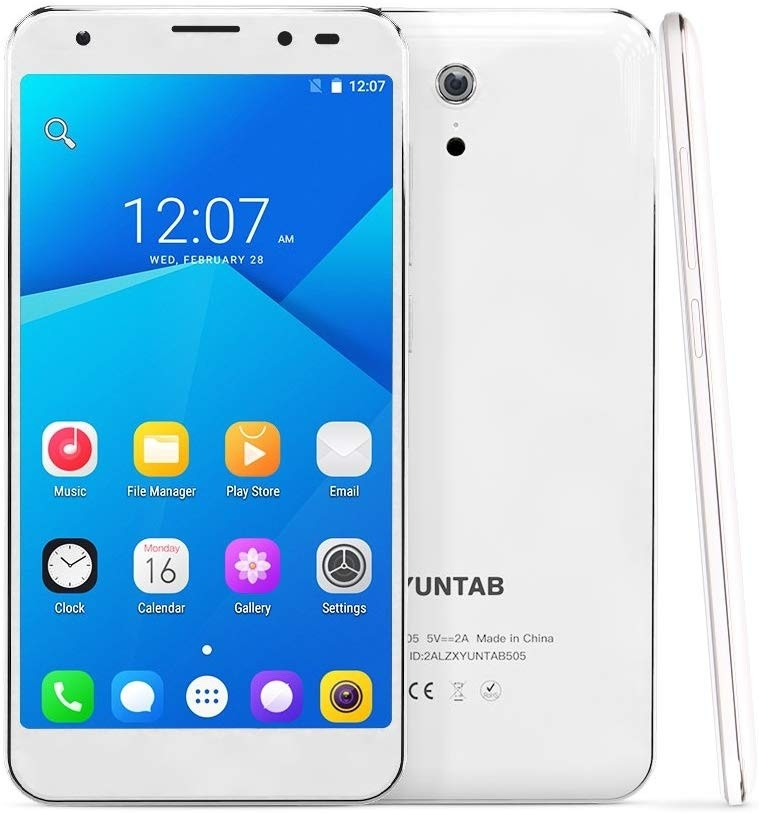 YUNTAB 5 Inch S505 Android 6.0 Unlocked Smartphone 4G LTE Quad-core 2GB / 32GB Touchscreen HD 720 x 1280 Dual SIM Slots Cellphone with Dual Camera GPS (S505-White) REFURBISHED -  REMIS A NEUF
