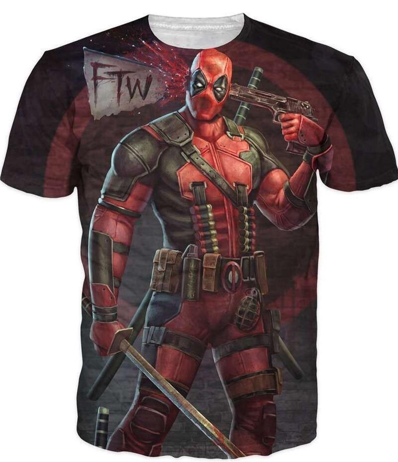 2016 New Arrive American Comic Badass Deadpool T-Shirt