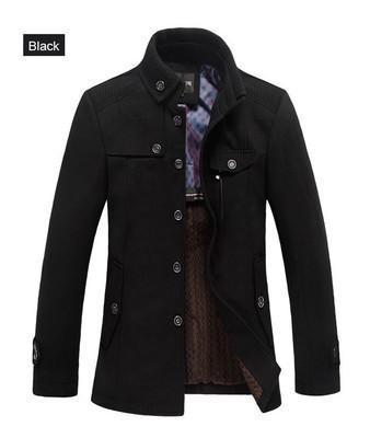men's windbreaker jacket thickened woolen coat