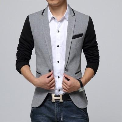 Men Blazer Jacket Single Button Gray Mens Suit Jacket 2015