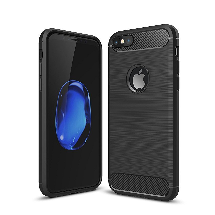 """Shockproof Silicone Light Brushed Grip Case Protective Case Cover For Apple iPhone 6/6s (4.7"""") Black + Free Screen Protector"""