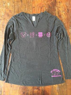 Ladies Dark Gray, V-neck, Long sleeved, Emoji Hoodie - Large