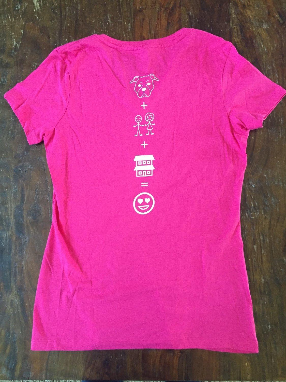 Ladies Pink, V-neck T-shirt, Emoji  - XLarge