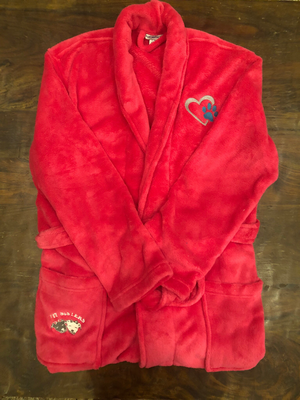 Bath robe: Pink with Turquoise paw- Sm/Med
