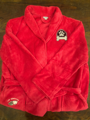 Bath robe: Pink with Silver paw- L/XL
