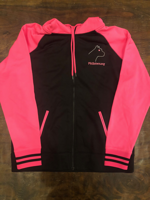 Black with Pink hooded, zip front jacket - Large