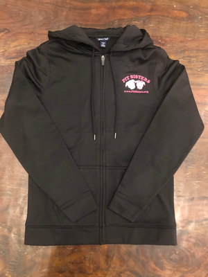 Black hooded, zip front jacket with Pit Sisters logo - XL