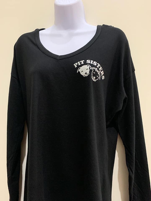 Black glitter/sequined, long sleeved t shirt hoodie, Small