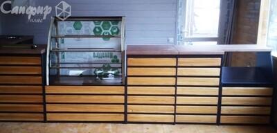 Барная, офисная стойка ресепшен с деревянным фасадом