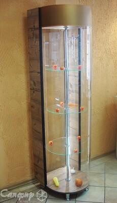 Витрина стеклянная с вращением полок