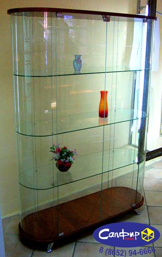 Шкаф - витрина стеклянная без запасника с гнутым стеклом ШВСГ 120