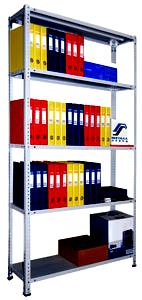 Стеллаж архивный складской металлический для офиса, мастерской 1м. 120 кг/полку