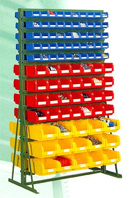 двухсторонняя стойка - стеллаж в комплекте с ящиками С-1, С-2, С-3.