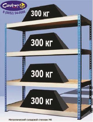 Стеллаж 300 кг на полку (1591 х 760)