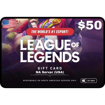 League of Legends $50 NA Server (USA) 7200 Riot Points