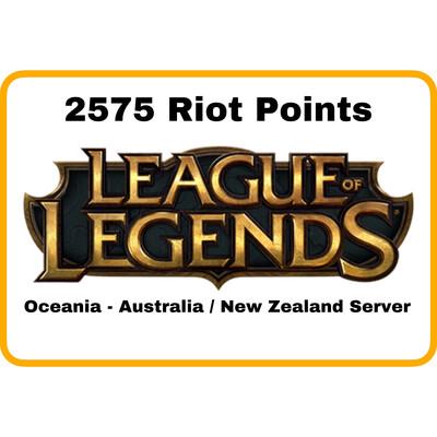 League of Legends Oceania Server (Australia/New Zealand) 2575 Riot Points