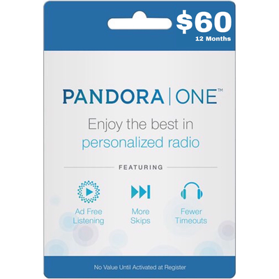 Pandora One Gift Card US $60 / 12 Months Subscription